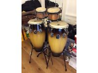 Toca Congo drums and bongo drums & stand