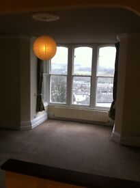 2 Bedroom First floor flat, stunning views over Town and castle, shared garden, parking, and storage
