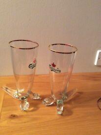 Pair of rare vintage Carlsberg Viking Horn shaped glasses