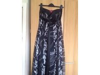 Beautiful black and silver strapless evening dress by Monsoon