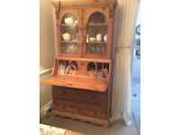 Pine cabinet with drawers,display cabinet and desk .