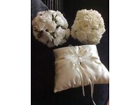 2 posies and ring cushion