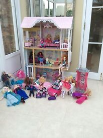 Dolls house barbies Anna Elsa kristof cars horses etc