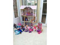 Dolls house barbies Anna Elsa kristof cars horses etc