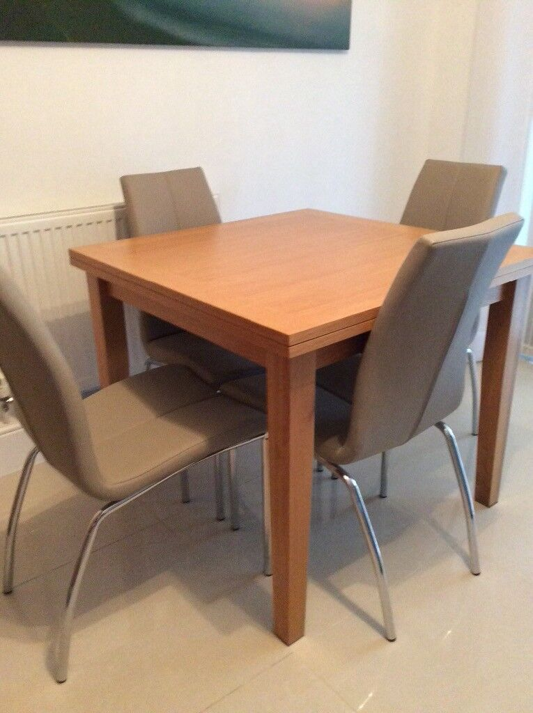 Square Flip Top Extending Dining Table