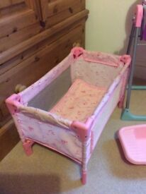 Dolls high chair, travel cot & bath