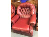 Two old leathery Chesterfieldy chairs / FREE Glasgow delivery
