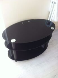 Oval black glass TV table, TV unit, TV stand, TV,media stand