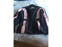Lovely black and pink textile Buffalo motorcycle jacket size small 10/12