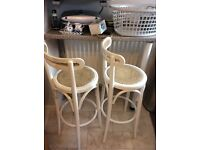 2x white wooden Kitchen Bar Stools in excellent condition previously bought from John Lewis