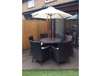 rattan 6 seater round table with parasol outdoor garden furniture