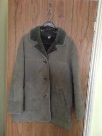 Women's Grey Sheepskin Coat Size 16. Includes colour matched, checked scarf.