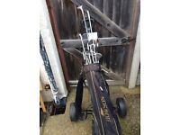 Golf trolley and golf clubs