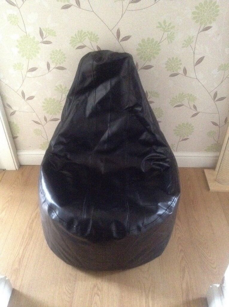 Black leather look gaming bean bag chair and foot rest