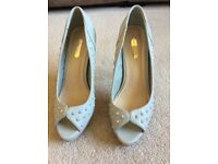 Size 7 Dorothy Perkins dove grey high heeled court shoes with peep toes and stud detail, hardly worn