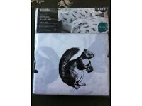 NEW Double duvet set, black & white with animals,deer, squirrel, rabbits, birds