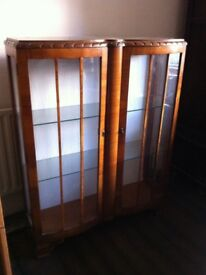 Double-fronted Vintage Display Cabinet Glazed Bookcase Shelving Unit