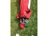How son golf clubs and bag