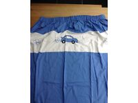Curtains, suit child's room, blue and white with cars, 180 cms drop 160 cms wide