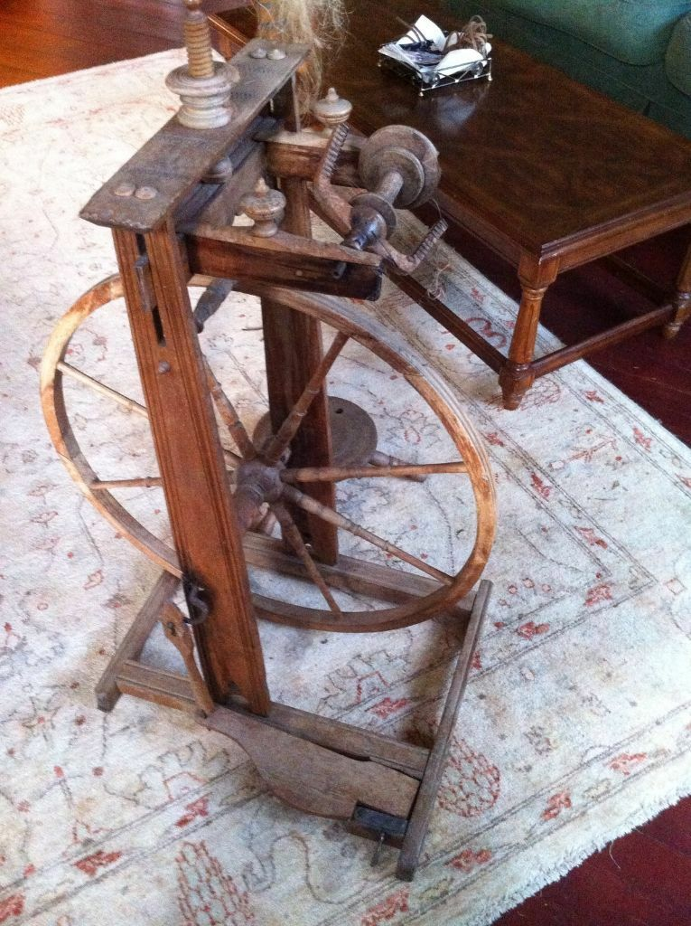 Antique Swiss Spinning Wheel With Decorative Yarn Post In Exeter