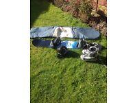 Snow board, bindings, boots, helmet & bag