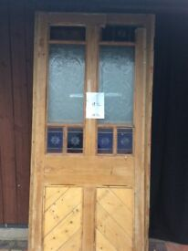2 Large glass panelled partition screens with pine surrrounds