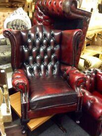 Leather Chesterfield queen Ann chair