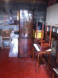 China cabinet, Round extendable dining table with chairs, corner unit & occasional table