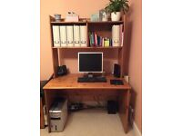Pine desk unit with shelves above , very good condition