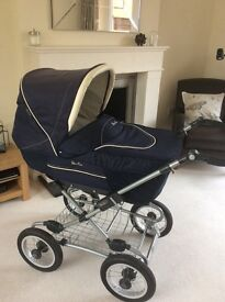 Silver Cross Sleepover Travel System - pram, pushchair, crib and car seat. Excellent condition.