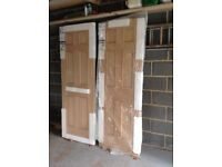 Double internal oak veneer panelled doors