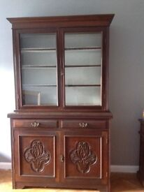 Antique Victorian solid wood display/bookcase cabinet