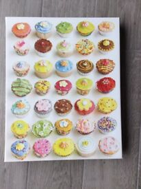 Cup Cakes wall canvas. 50cms x 40cms Very good condition