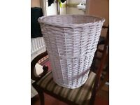 Large White Wicker Laundry Storage Decorative Basket / Can Deliver