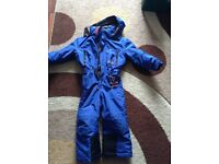 Boys blue ski all in one suit age 4 snow max poivre blanc designed in France