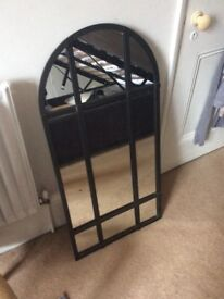 Arcade Window Mirror Metal black frame Shabby Chic
