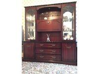 Mahogany display cabinet and tables