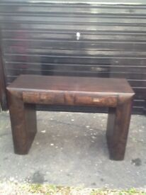 Crafted Mahogany Wood Console Table with 2 Drawers