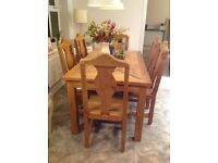 Solid Mexican pine dining table & 6 chairs