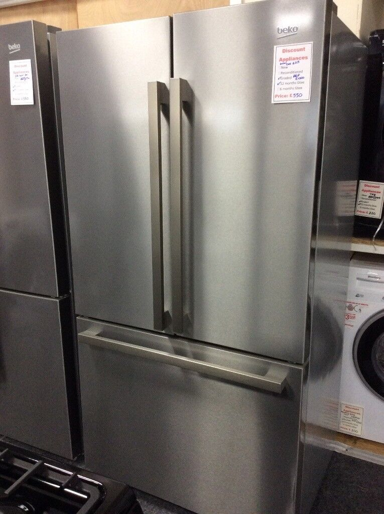 Stainless steel 3 door American style fridge freezer new graded 12 mth gtee