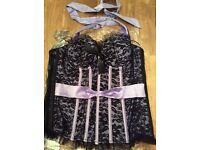 Brand New Ladies Ann Summers Black Lace Corset Size 12