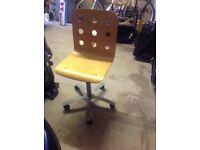 Pine swivel desk chair for sale - £15.00