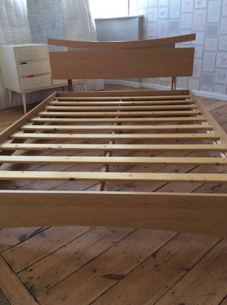 Wooden Double Bed Frame Low Level With Headboard In Southend On