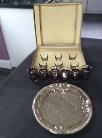 6 Shot Glasses and Serving Tray