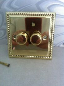 Brass effect appearance rope twin dimmer switch