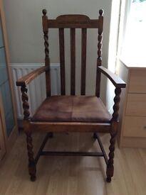 Victorian wooden armchair