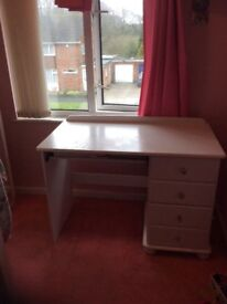 White desk / dressing table dable desk top with crystal ball effect balled draw handles