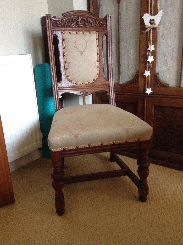 Heavy Antique dining chairs x6 stags head design - Heavy Antique Dining Chairs X6 Stags Head Design In Perth, Perth
