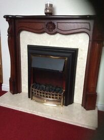 Electric Fire , Surround and marble hearth