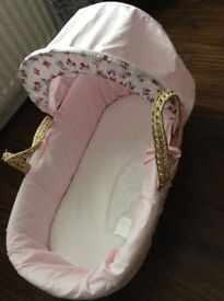 Girls' Moses Basket and Mattress